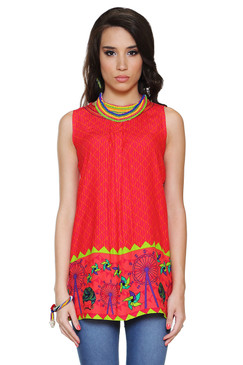Global Desi Womens Boho Diamond and Carnival Print Tunic - Front