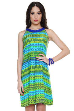 Global Desi Womens Boho Horizontal Multi-Print Dress - Front