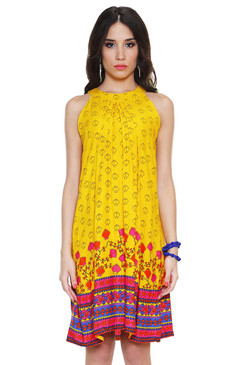 Global Desi Womens Boho Kite Print Sleeveless Dress - Front
