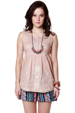 Global Desi Womens Boho Diamond Print Sleeveless Top - Front