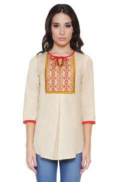 Global Desi Womens Boho Embroidered Yoke Tunic - Front