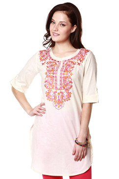 Global Desi Womens Boho Contrast Floral Embroidered Tunic - Front