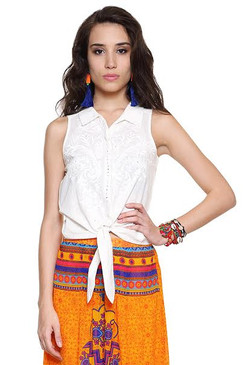 Global Desi Womens Boho Floral Embroidered Tie-Up Top - Front