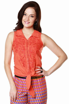 Global Desi Womens Boho Embroidered Tie-Up Top ‰ÛÒ Front