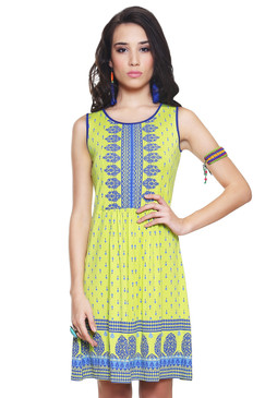 Global Desi Womens Boho Decorative Printed  Yoke and Hem Dress - Front