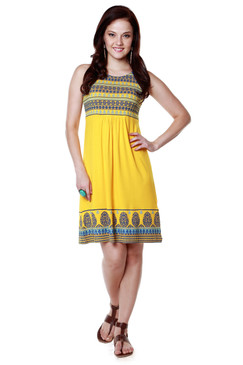 Global Desi Womens Boho Decorative Printed Hem Dress - Front