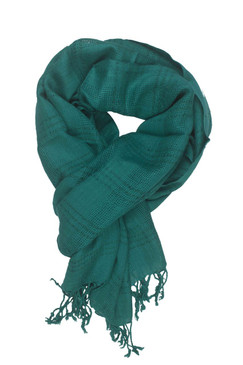 In-Sattva Colors - Woven Checkered Print Solid Color Scarf Stole ‰ÛÒ Teal