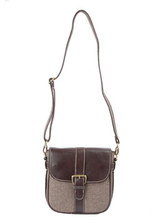 Ivory Tag Brown Leather & Twill Weave Crossbody Bag ‰ÛÒ Front