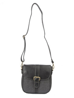 Ivory Tag Black Leather & Twill Crossbody Bag ‰ÛÒ Front