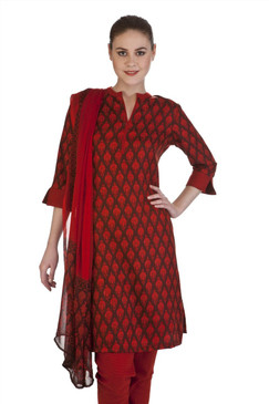 MB Women's Indian Clothing Kurta Tunic 3 piece Suit with Floral Paisley Print ‰ÛÒ Red/Brown