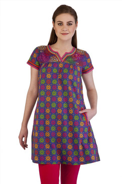 MB Women's Indian Clothing Style Kurta Tunic with Abstract Floral Print  with Pockets‰ÛÒ Front
