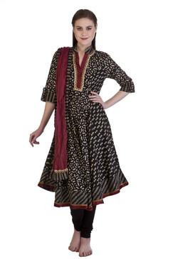 MB Women's Indian Clothing Ethnic Kurta Tunic Assymetrical Bias Cut 3 piece Suit ‰ÛÒ Black Front