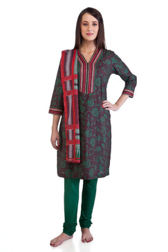 MB Women's Indian Clothing Kurta Tunic Ethnic Suit with Green Floral Print ‰ÛÒ Front