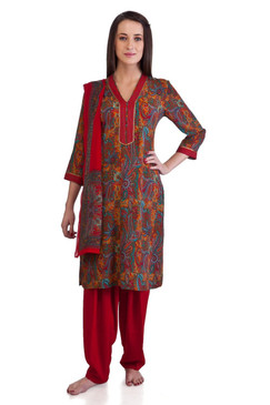 MB Women's Indian Clothing Printed Kurta Tunic Tunic 3 piece Suit ‰ÛÒ Front