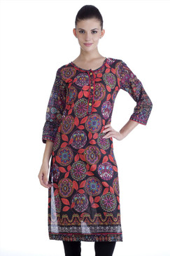 MB Womens Ethnic Leaf Printed Kurta Tunic ‰ÛÒ Black