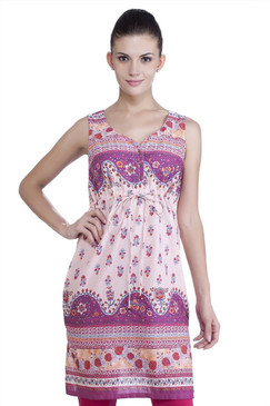 MB Womens Ethnic Printed Dress with Fitted Waist
