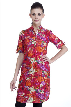 MB Womens Ethnic Floral Printed Tunic with Collar ‰ÛÒ Red