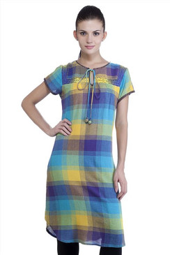 MB Womens Ethnic Yarn Dyed Check Kurta Tunic