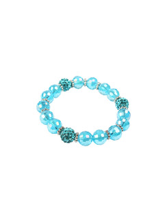 Ivory Tag Faceted Ocean Blue Beaded Bracelet