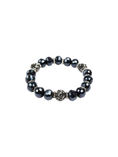Ivory Tag Faceted Navy Blue Beaded Bracelet