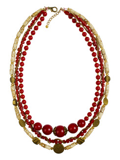 Ivory Tag 3-Strand Red Stone Necklace with Gold Accents
