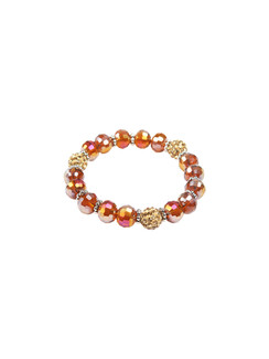 Ivory Tag Faceted Amber Beaded Bracelet