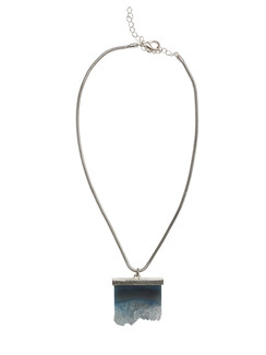 Ivory Tag Cerulean Blue Iceberg Crystal Stone Necklace