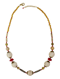 Ivory Tag Cracked White Stone and Red Stone Necklace