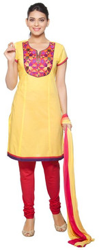 Trishaa Women's Salwaar Kameez Set- Embroidered Neck Yoke ‰ÛÒ Front