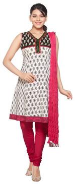 Trishaa Women's Salwaar Kameez Set- Embroidered & Lace Worked Yoke ‰ÛÒ Front