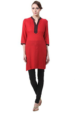 In-Sattva Women's Indian Solid Color Contrast Trim Kurta Tunic