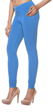 Women's Indian Solid Blue Churidar Leggings
