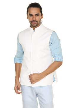 Men's Button Down Vest with Mandarin Collar-White