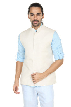 Men's Button Down Vest with Mandarin Collar-Natural