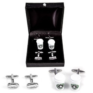 2 Pairs Espresso Coffee cup and coffee bean cufflinks gift set displayed infront of deluxe presentation gift box starbucks style close up image