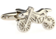 Silver motorcycle dirt bike cufflinks close up image