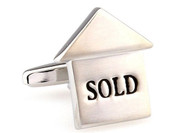 Silver Realtor Sold Sign Cufflinks close up image