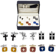 6 Pairs Assorted Cross Cufflinks Gift set with presentation gift box, collar tabs and polishing cloth