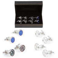4 Pairs Race Car Cufflinks Gift set with presentation gift box includes 1 Pair blue speedometer cufflinks 1 Pair Fuel Gauge & MPH Gauge cufflinks 1 Pair MoMo Sterring Wheel Cufflinks 1 Pair Inky Wheel Mags Cufflinks