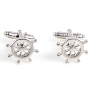 Ship wheel cufflinks shown as a pair front view close up image