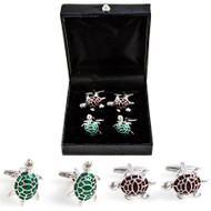 2 Pairs Green Turtle and Brown Tortoise Cufflinks Gift Set with presentation gift box close up image