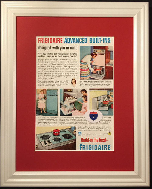 1959 59 Frigidaire Vintage Ad Built-Ins Oven Stove Refrigerator Dishwasher GM General Motors  Kitchen, appliance, appliances, oven, ovens, stove, stoves, refrigerator, refrigerators, ice, box, boxes, icebox, iceboxes, dish, washer, washers, dishwasher, dishwashers, freezer, freezers