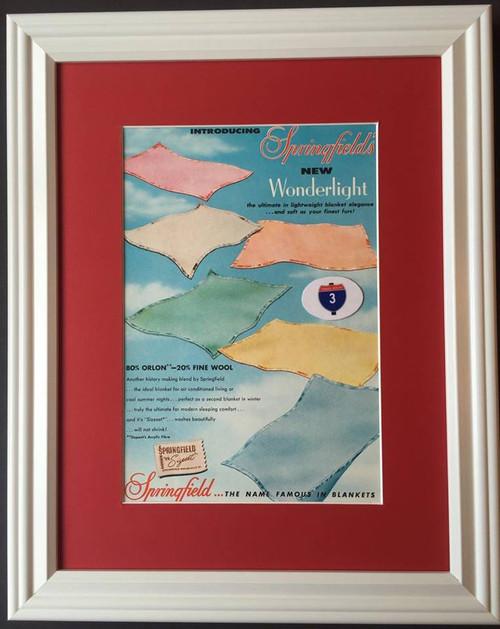 1957 57 Springfield Wonderlight Blanket Vintage Ad - The Springfield Woolen Mills Co Sizeset Orlon Fine Wool Dupont  blanket, wool, woolen, springfield, dupont, bed, sheet, sheets, blankets