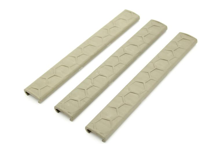 Hexmag Slim Line Picatinny LowPro Rail Covers 3 Pack FDE