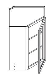 "Espresso Maple Wall Diagonal Corner Glass Cabinet   24""W x 12""D x 36""H  WMDC2436H"