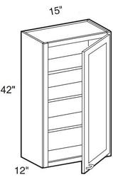 """Mocha Maple Glaze Wall Cabinet   15""""W x 12""""D x 42""""H  W1542"""