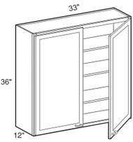 """Mocha Maple Glaze Wall Cabinet   33""""W x 12""""D x 36""""H  W3336"""