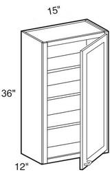 """Mocha Maple Glaze Wall Cabinet   15""""W x 12""""D x 36""""H  W1536"""