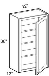"Black Coffee Maple Wall Cabinet   12""W x 12""D x 36""H  W1236"
