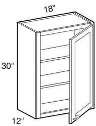 "Black Coffee Maple Wall Cabinet   18""W x 12""D x 30""H  W1830"